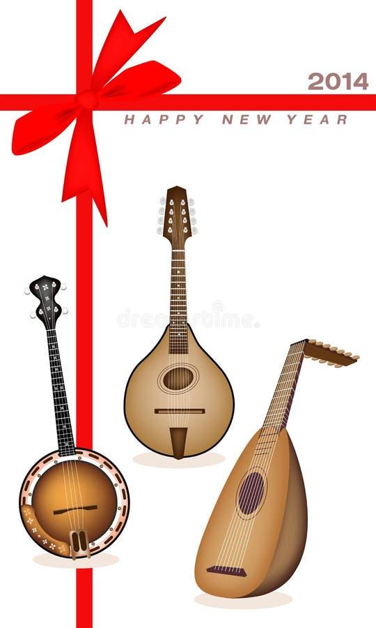 Carte cadeaux de nouvelle année des ficelles d'instrument de musique illustration libre de droits