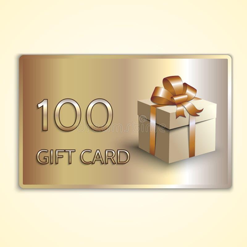 Carte cadeaux de oro abstracto del vector con la caja stock de ilustración