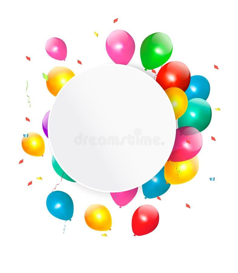 Carte cadeaux del feliz cumpleaños con los baloons stock de ilustración