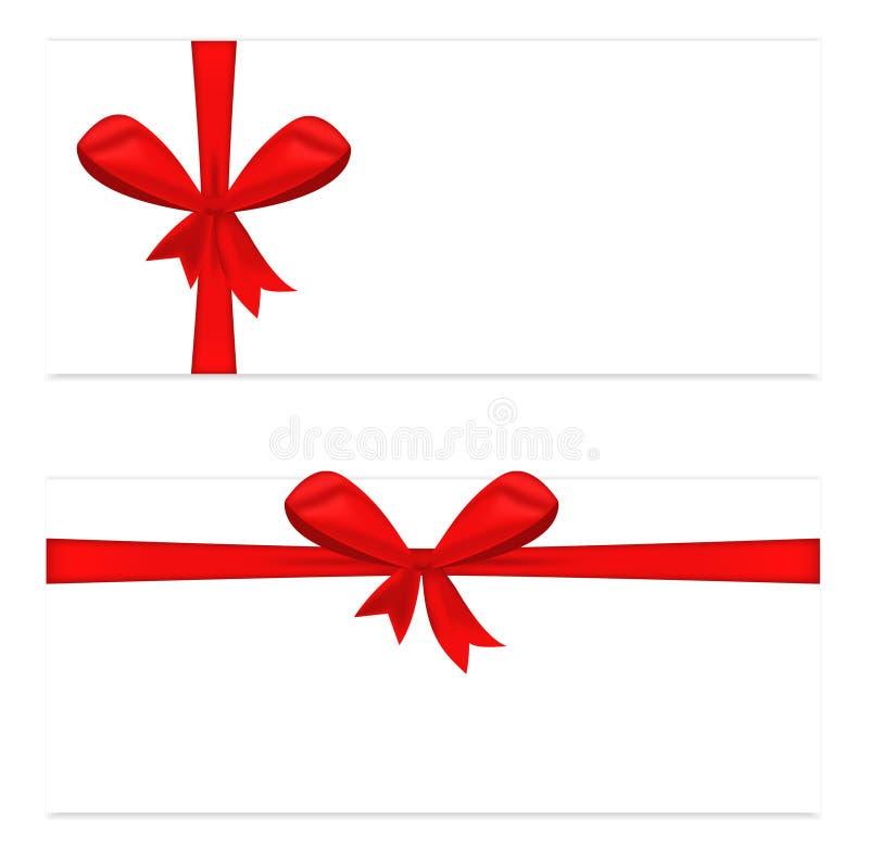 Carte cadeaux deux avec l'arc rouge de ruban et de satin image libre de droits