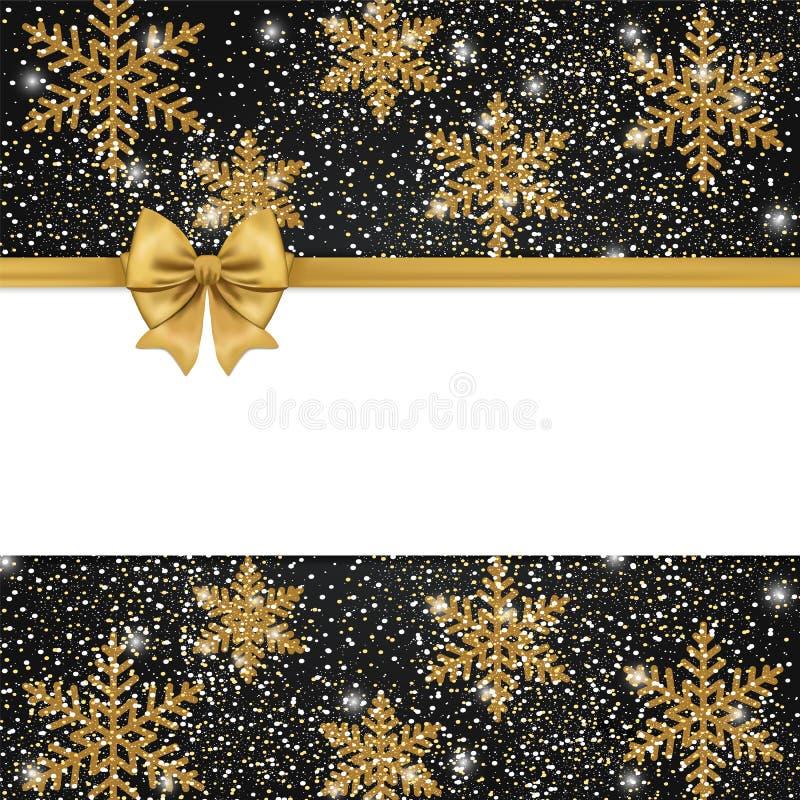 Carte cadeaux noire avec l'arc d'or et frontière de scintillement d'isolement sur le whi illustration stock