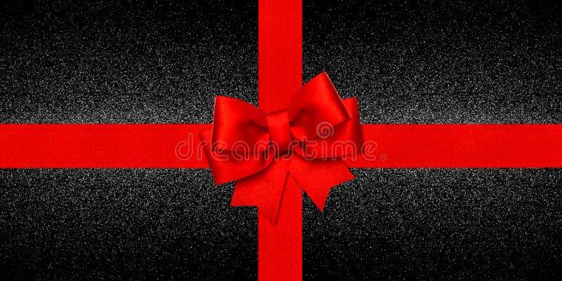Carte cadeaux noire brillante de fond d'arc rouge de ruban photo libre de droits