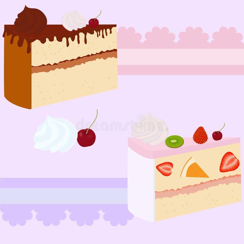 Carte cadeaux o invitación de la torta ilustración del vector