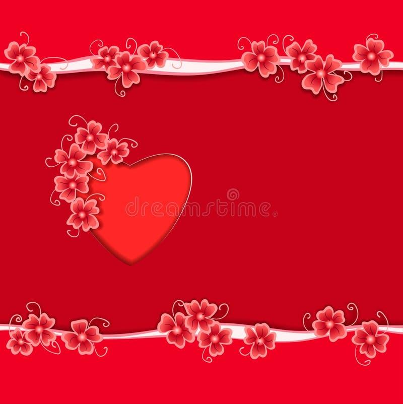 Carte cadeaux romántico con el corazón rojo y el marco abstracto de la flor libre illustration