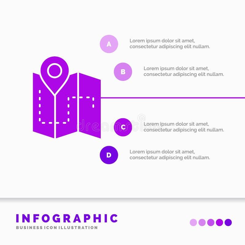 Carte, camping, plan, voie, calibre d'Infographics d'emplacement pour le site Web et présentation r illustration stock