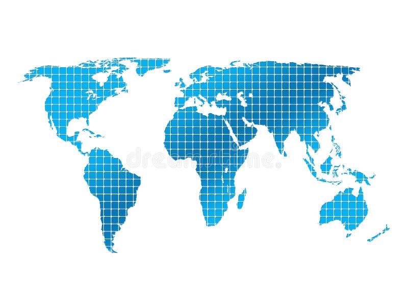 Carte carrée d'isolement du monde illustration stock