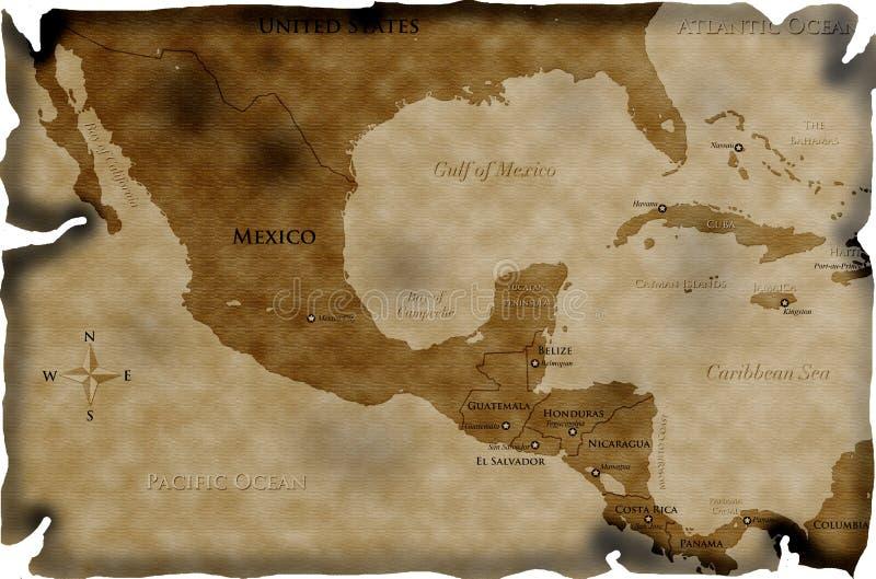 carte centrale antique de l'Amérique illustration libre de droits