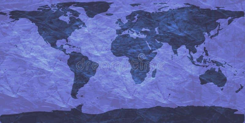 Carte chiffonnée du monde illustration stock