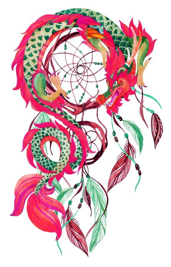 Carte chinoise de dragon et de dreamcatcher illustration libre de droits
