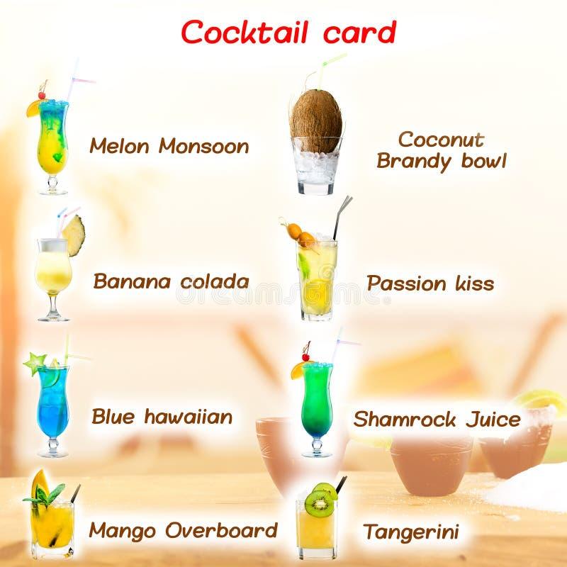 Carte classique de menu de cocktail pour une barre positionnement Un bon nombre de cla différent images stock