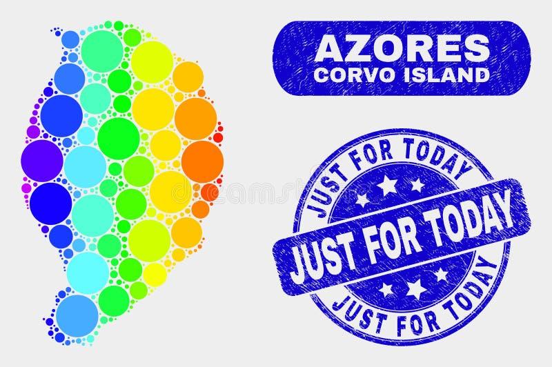 Carte colorée d'île de Corvo de mosaïque et affliger juste pour aujourd'hui le timbre illustration stock