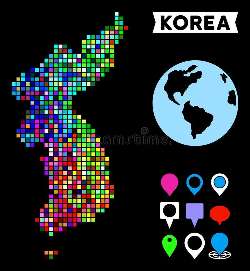 Carte colorée de Dot North And South Korea illustration libre de droits