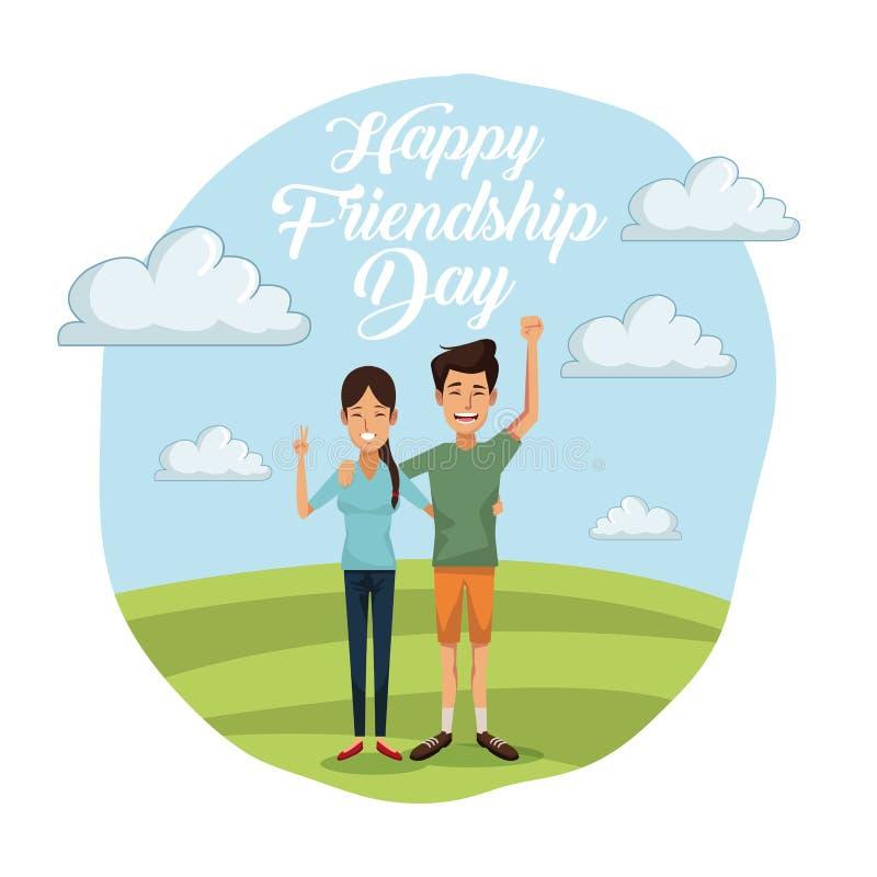 Carte colorée de jour heureux d'amitié avec des couples dehors dans le jour ensoleillé et elle avec de longs cheveux et lui dans  illustration libre de droits