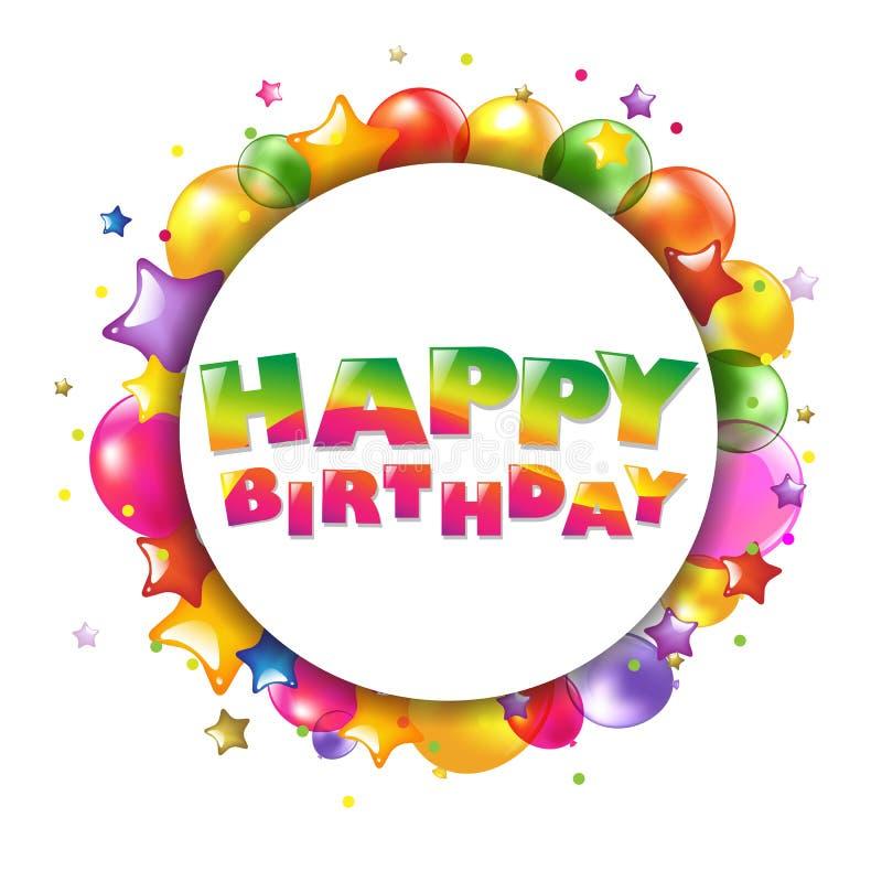 Carte colorée de joyeux anniversaire avec des ballons illustration stock