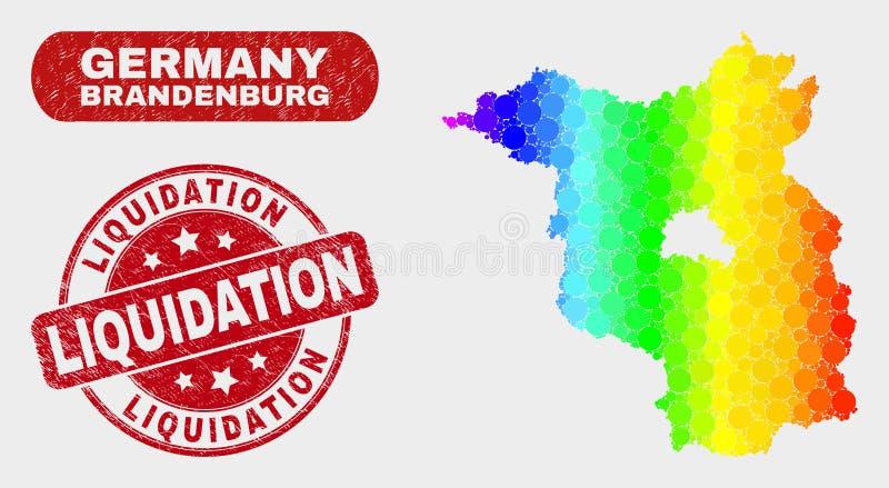 Carte colorée de terre de Brandebourg de mosaïque et timbre rayé de liquidation illustration libre de droits