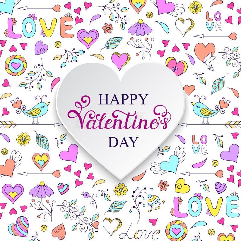 Carte colorée de Valentine s illustration libre de droits