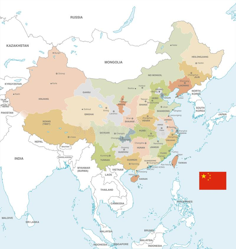 Carte colorée de vecteur de la Chine illustration stock