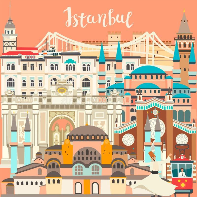 Carte colorée de vecteur de ville d'Istanbul Bâtiment célèbre d'Istanbul illustration de vecteur