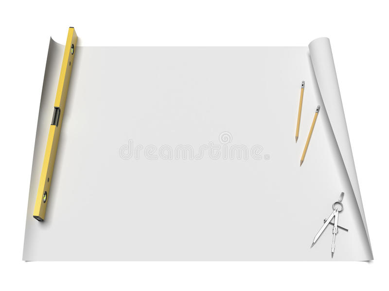 Carte con gli schizzi e gli strumenti illustrazione vettoriale