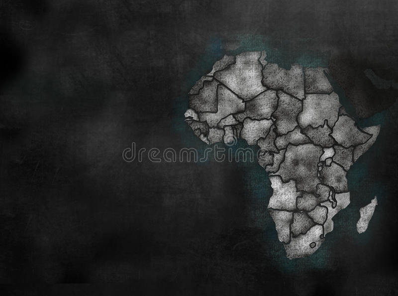 Carte continente africaine de l'Afrique dans le style coloré de tableau avec C illustration stock