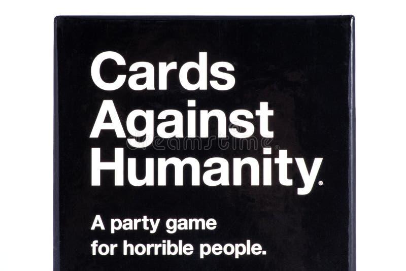 Carte contro il gioco di umanità fotografia stock