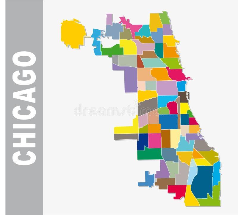 Carte cooorful de vecteur de voisinage de Chicago illustration libre de droits