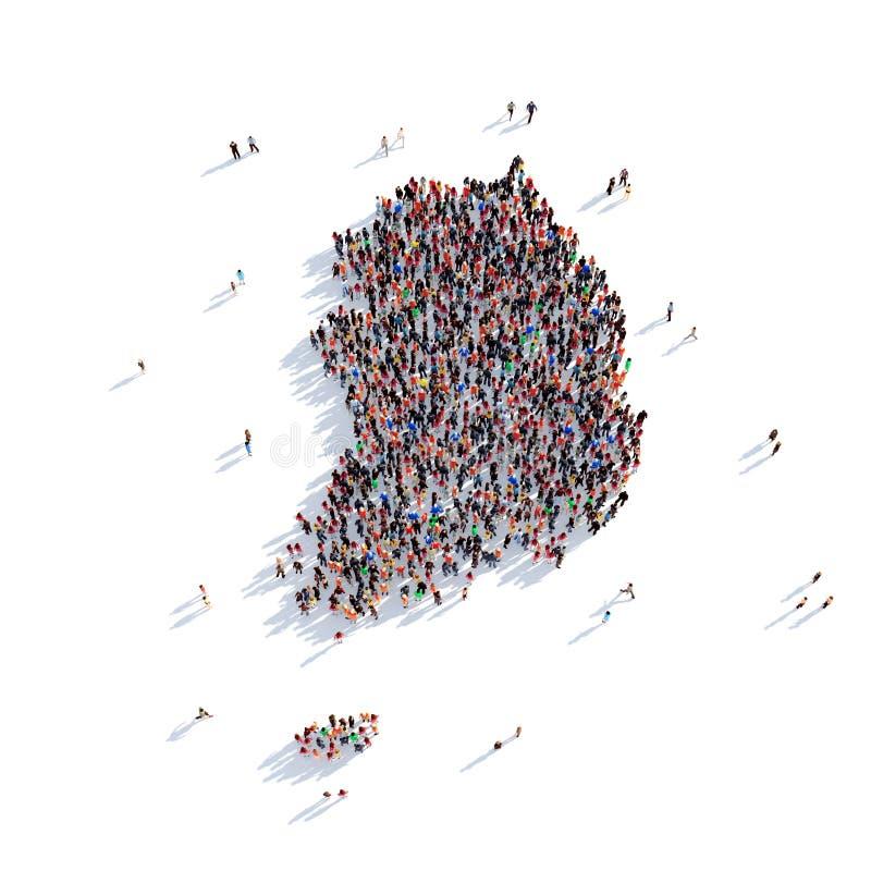 Carte Corée du Sud de forme de groupe de personnes illustration libre de droits