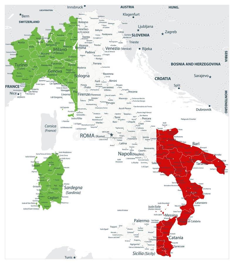 Carte couleur abstraite de vecteur de pays de l'Italie colorée par le drapeau national illustration libre de droits