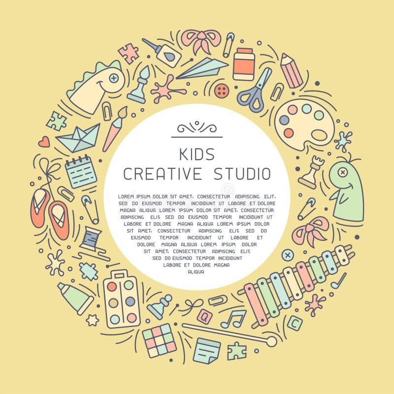 Carte créative de l'information de studio avec des choses pour des enfants texte créatif d'activité et témoin illustration stock