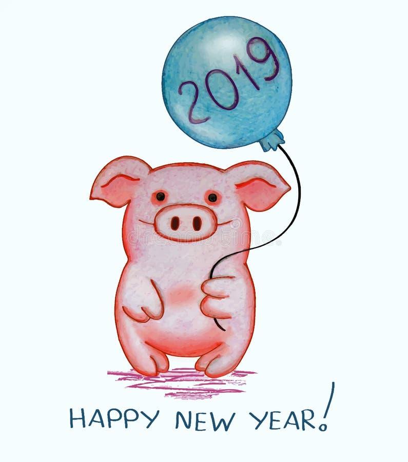 Carte creeting de nouvelle année avec un caractère de porc tenant un ballon illustration stock