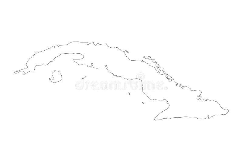 Carte Cuba de vecteur Illustration noire et blanche de vecteur Illustration d'isolement de vecteur Noir sur le fond blanc illustration libre de droits
