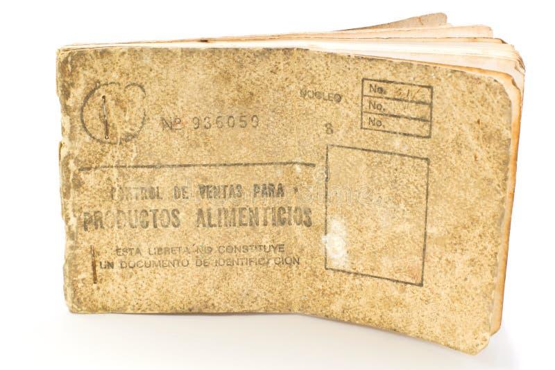 Carte cubaine de nourriture de ration, libreta de la bodega photos libres de droits