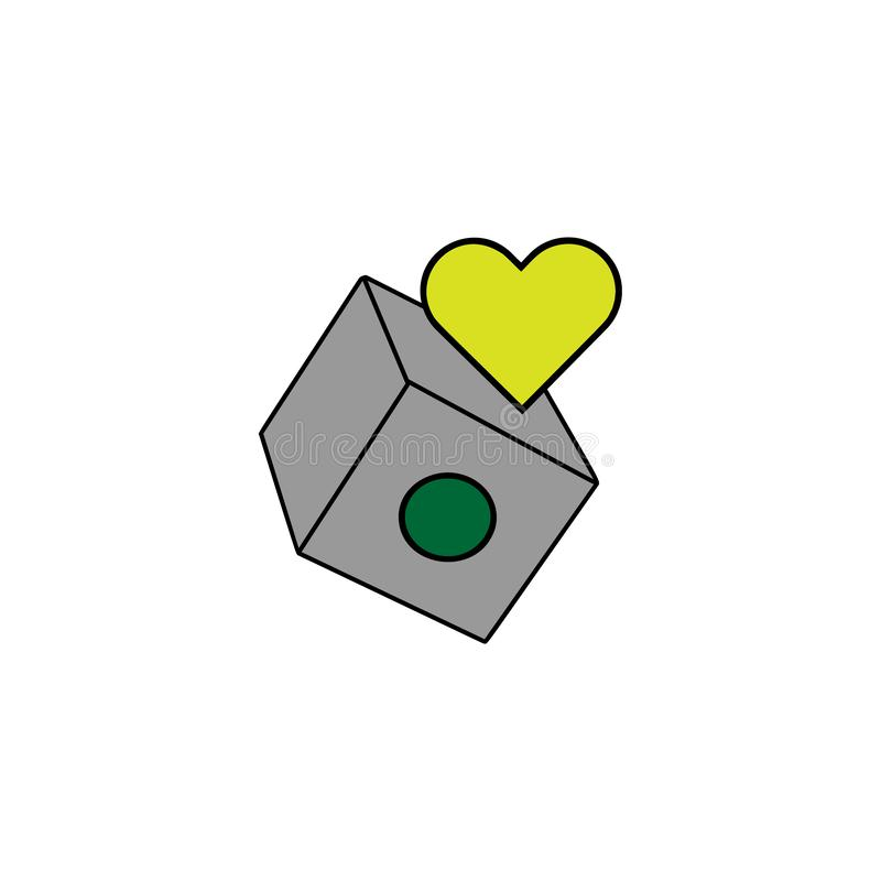 Carte, cuore Elemento dell'icona del casinò per i apps mobili di web e di concetto Le carte dettagliate, cuore possono essere usa illustrazione vettoriale