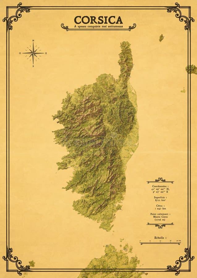 Carte décorative de la Corse images libres de droits