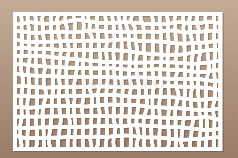 Carte décorative pour couper le laser ou le traceur Panneau de Mesh Pattern de griffonnage Coupe de laser 2:3 de rapport Illustra illustration stock