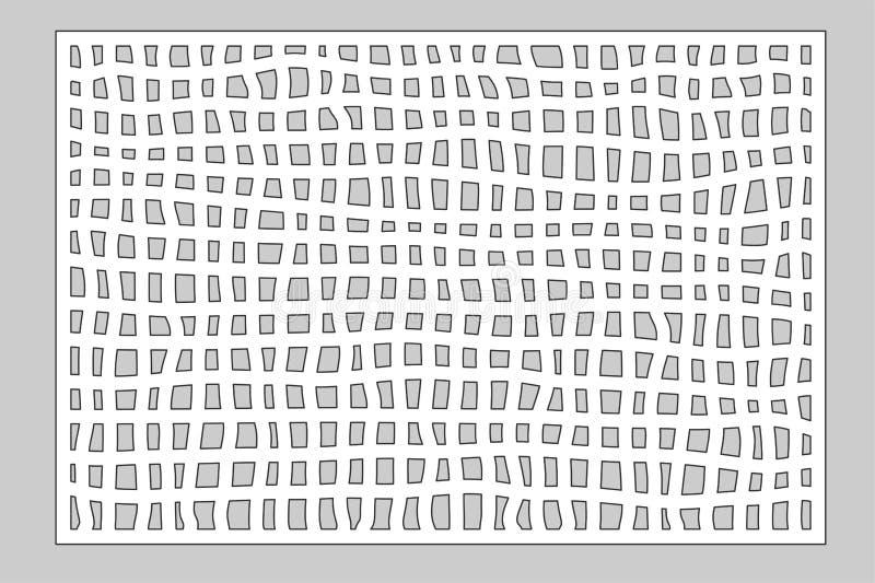 Carte décorative pour couper le laser ou le traceur Panneau de Mesh Pattern de griffonnage Coupe de laser 2:3 de rapport Illustra illustration libre de droits