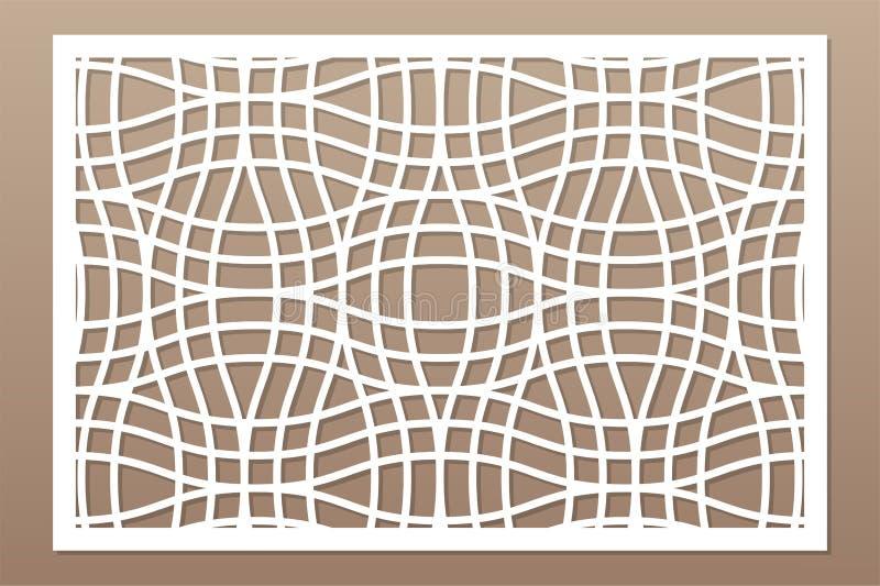 Carte décorative pour couper le laser ou le traceur Panneau géométrique linéaire de modèle Coupe de laser 2:3 de rapport Illustra illustration stock