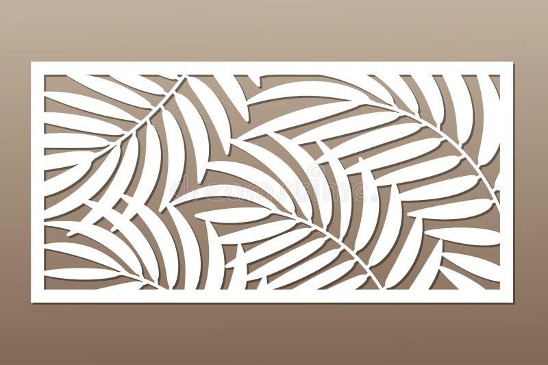 Carte décorative pour la coupure Modèle en feuille de palmier Coupe de laser illustration libre de droits