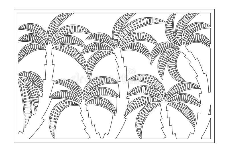 Carte décorative pour la coupure Modèle en feuille de palmier Panneau de coupe de laser 2:3 de rapport Illustration de vecteur illustration stock