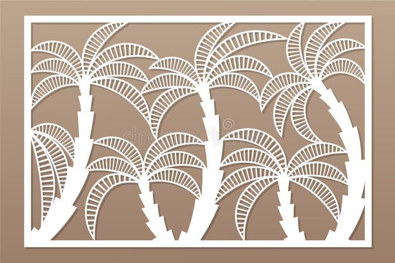 Carte décorative pour la coupure Modèle en feuille de palmier Panneau de coupe de laser 2:3 de rapport Illustration de vecteur illustration de vecteur