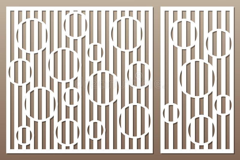 Carte décorative réglée pour la coupure Ligne modèle de cercle Coupe de laser illustration libre de droits