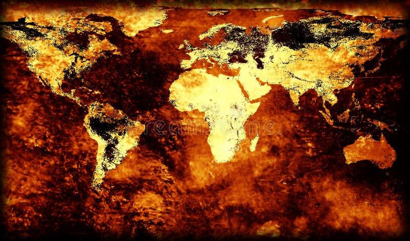Carte démodée du monde illustration libre de droits