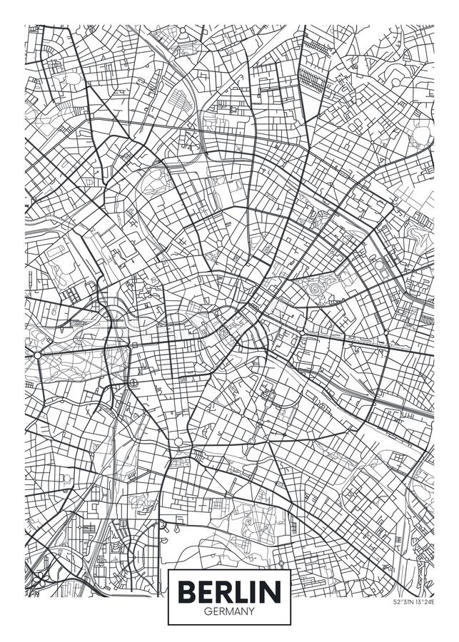 Carte détaillée Berlin de ville d'affiche de vecteur illustration libre de droits