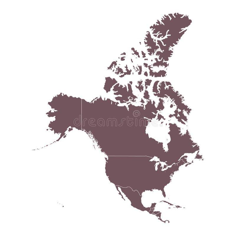 Carte détaillée de continent de l'Amérique du Nord illustration libre de droits