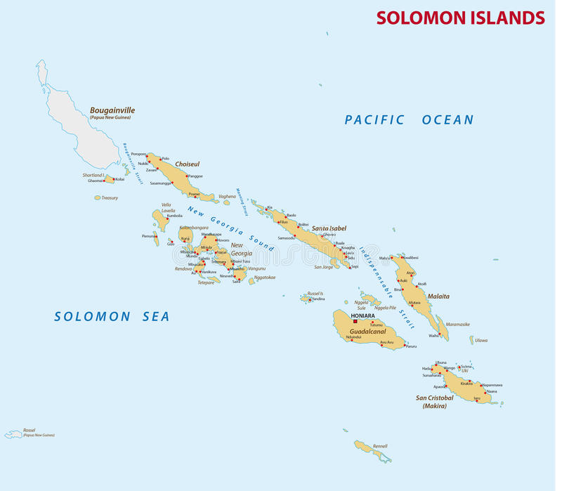 Carte détaillée de l'état Pacifique de Solomon Islands illustration de vecteur