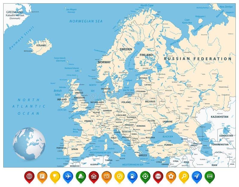 Carte détaillée de l'Europe et marqueurs colorés de carte illustration libre de droits
