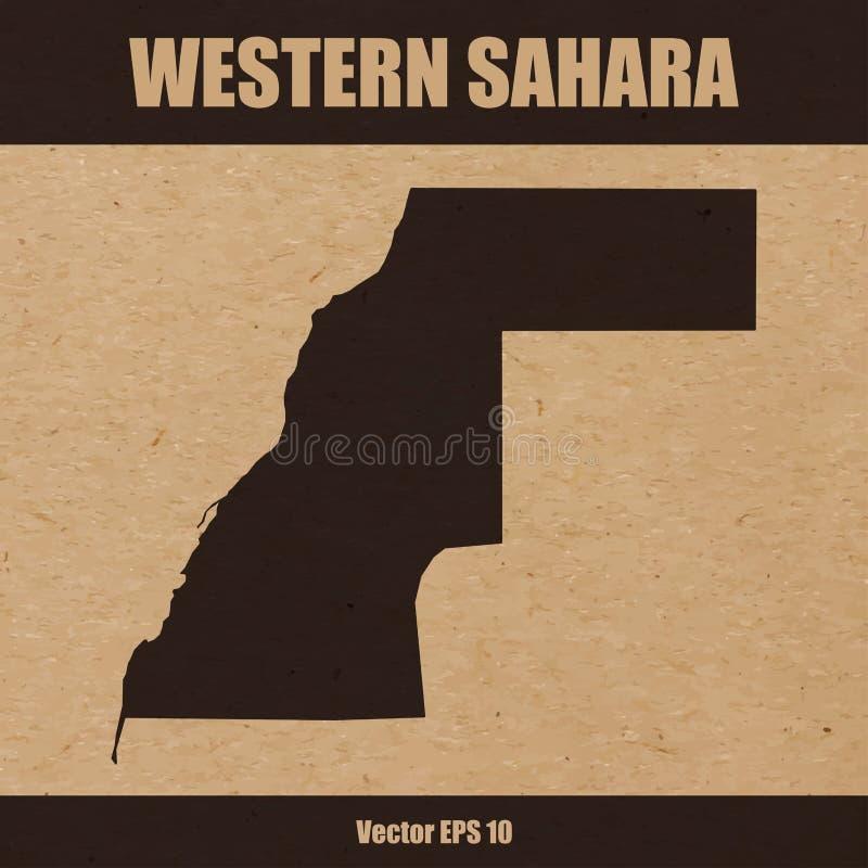 Carte détaillée de la Sahara occidental sur le fond de papier de métier illustration libre de droits