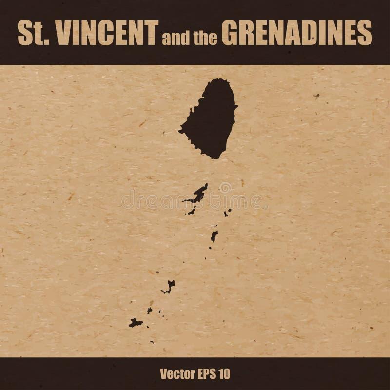 Carte détaillée des îles du Saint-Vincent-et-les Grenadines illustration de vecteur