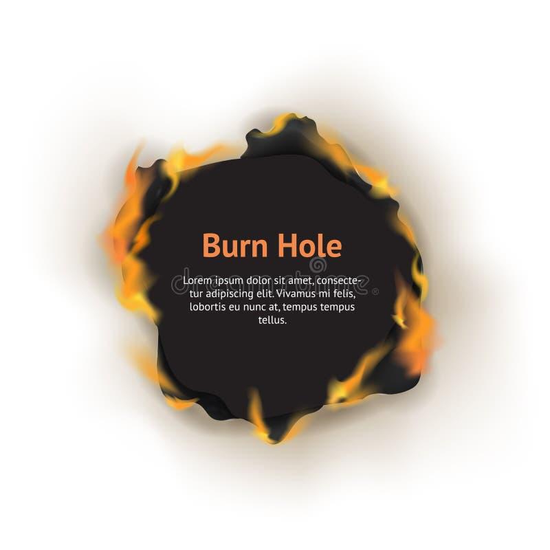 Carte détaillée réaliste de concept de papier de trou de la brûlure 3d Vecteur illustration de vecteur