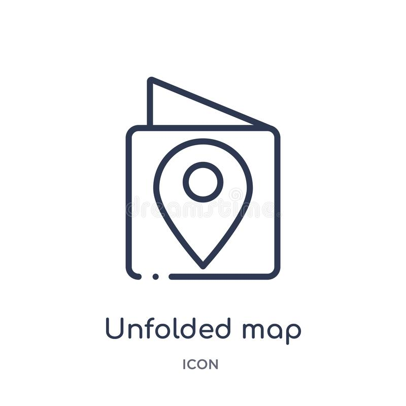 carte dévoilée avec l'icône de marque d'emplacement de la collection d'ensemble de voyage La ligne mince a dévoilé la carte avec  illustration stock